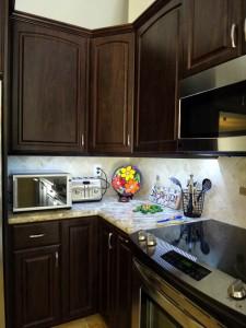 Under cabinet lighting, backless slide-in range and hanging microwave