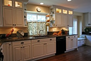 Glass door cabinetry with lighting