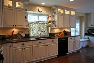 Glass door cabinetry with lighting