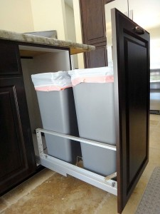 Double 50 quart trash can pullout
